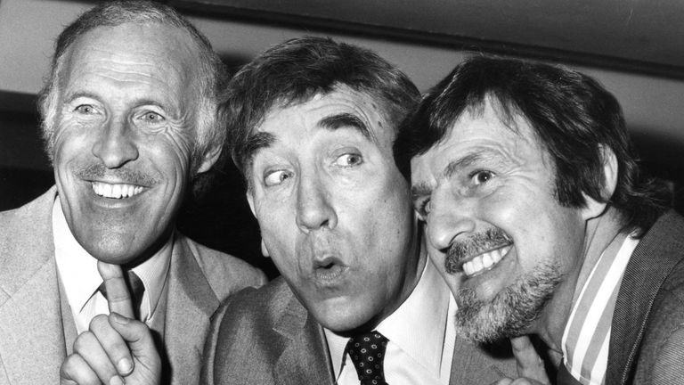 Sir Bruce with fellow TV personalities Frankie Howerd, centre, and Jimmy Hill