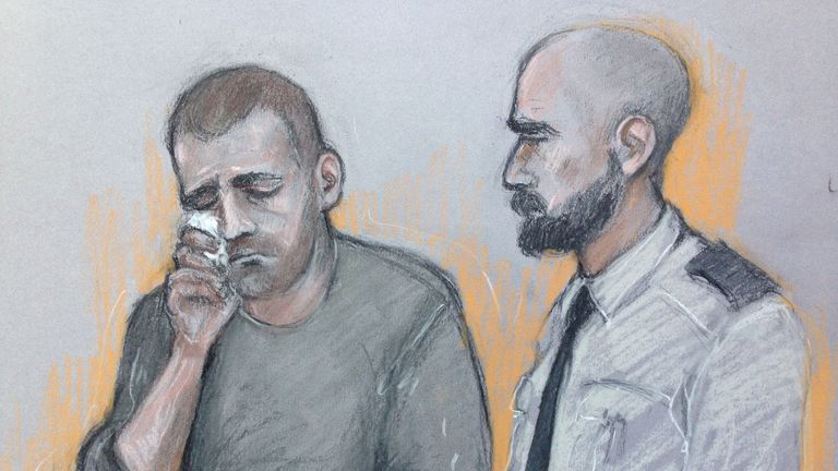 Court artist sketch by Elizabeth Cook of Ryszard Masierak (left) appearing at High Wycombe Magistrates' Court. The lorry driver is accused of eight counts of causing death by dangerous driving, four counts of causing serious injury by dangerous driving and eight counts of causing death by careless driving while over the prescribed alcohol limit, following the M1 crash in which eight people were killed. PRESS ASSOCIATION Photo. Picture date: Monday August 28, 2017. See PA story COURTS M1. Photo c
