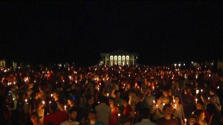 A candlelit vigil at the University of Virginia campus in the wake of the Charlottesville violence