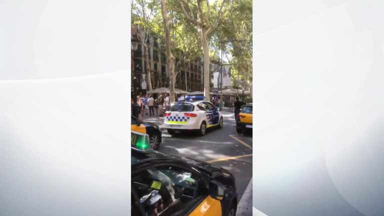 Police respond to terrorist attack in Barcelona