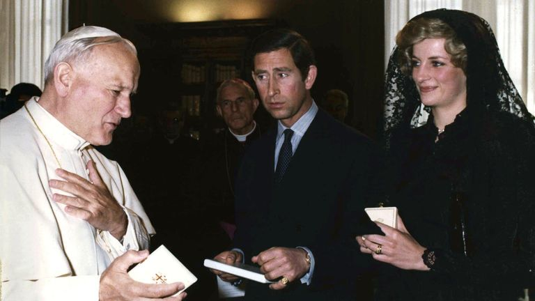 April 1985: Diana and Charles meet with Pope John Paul II during a private audience a the Vatican