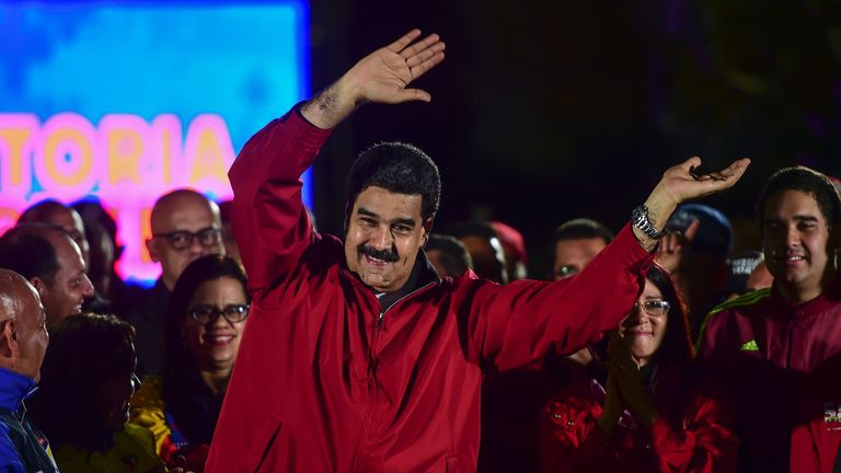 Nicolas Maduro celebrates the results of the Constituent Assembly vote