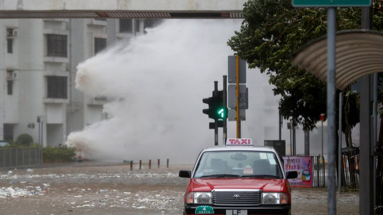 Waves triggered by Typhoon Hato are seen in Hong Kong, China
