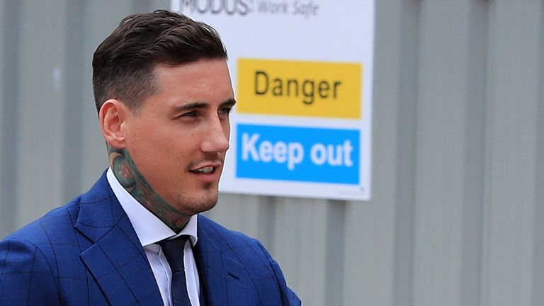 Reality TV star Jeremy McConnell arrives at Liverpool magistrates Court where he is to be sentenced for assaulting ex-girlfriend Stephanie Davis. PRESS ASSOCIATION Photo. Picture date: Friday August 11, 2017. He was found guilty on Monday of attacking the former Hollyoaks actress at her home in Rainhill, Merseyside, on March 10. See PA story COURTS McConnell. Photo credit should read: Peter Byrne/PA Wire