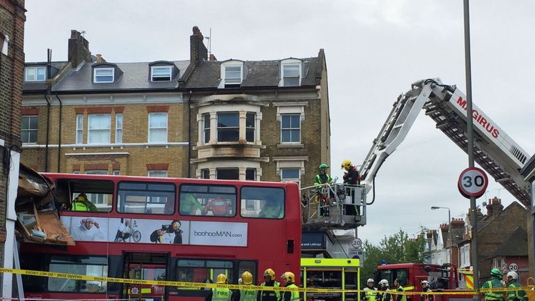 A double-decker bus has crashed into a store in Lavender Hill, a busy London high street near Clapham Junction, on 10 August 2017