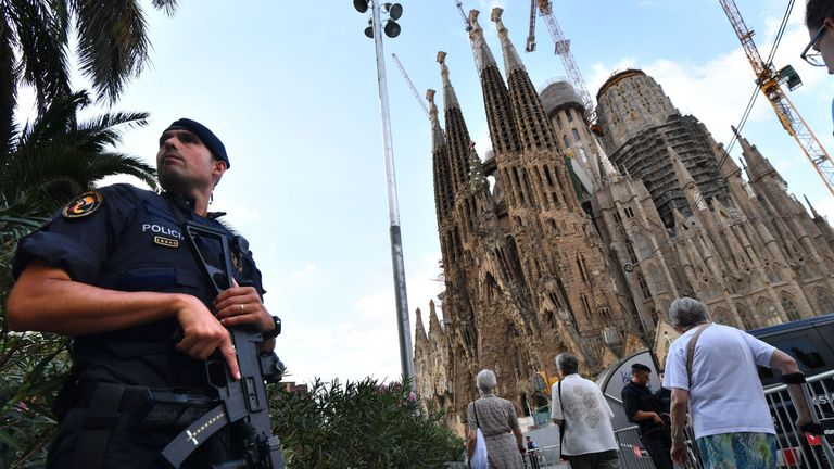 Tight security at the Sagrada Familia basilica before the mass