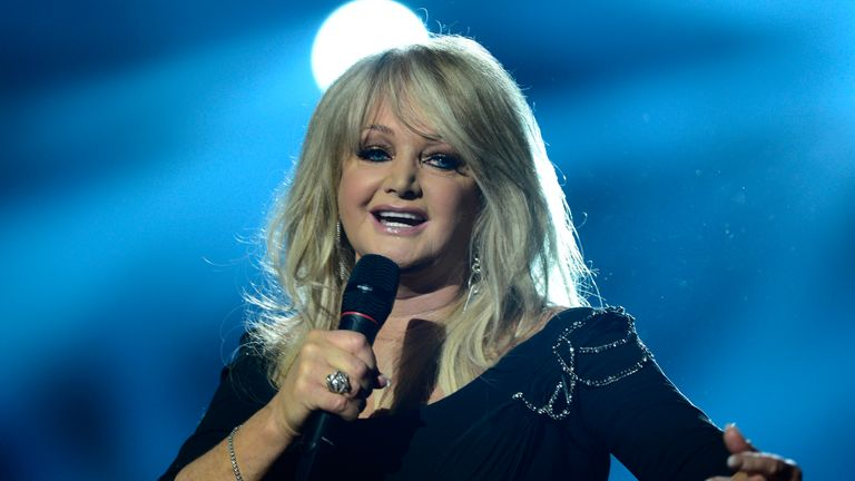 Britain's Bonnie Tyler performs during the finals of the 2013 Eurovision Song Contest on May 18, 2013. AFP PHOTO AFP PHOTO / JOHN MACDOUGALL (Photo credit should read JOHN MACDOUGALL/AFP/Getty Images)