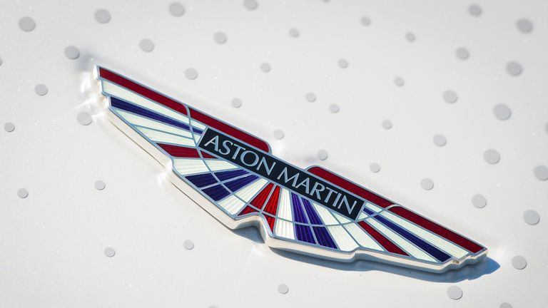 General view of an Aston Martin logo on the bonnet of an Aston Martin Rapide.
