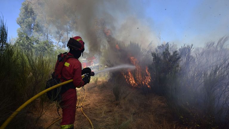Members of the UME (Emergency Military Unit) fight a wildfire in Vilardevos, northwestern Spain, on August 4, 2017