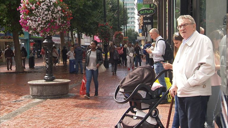 Shoppers in Reading city center