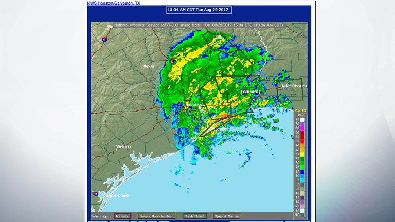 A map showing the rain still hitting the Houston area. Pic: NWS