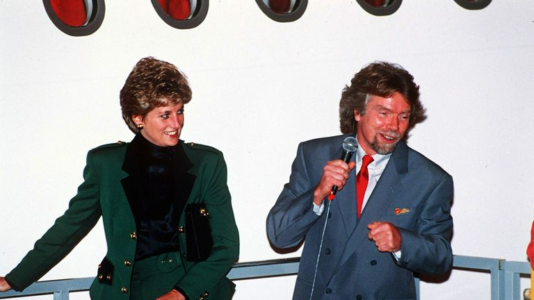 Princess Diana launches an aircraft with Sir Richard Branson in 1993. Pic: Rex