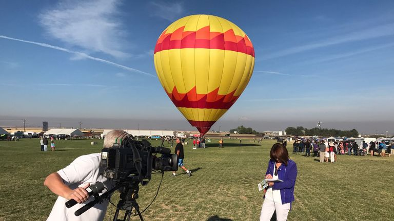 The scene in Oregon as Kay Burley prepares to report on crowds gathering to see the total eclipse.
