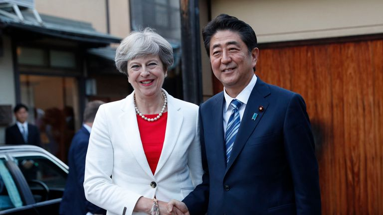 Theresa May with Japanese Prime Minister Shinzo Abe