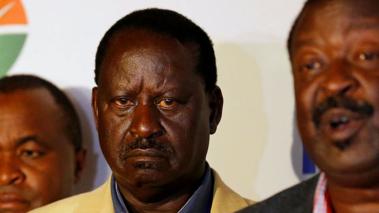 Kenyan opposition leader Raila Odinga, the presidential candidate of the National Super Alliance (NASA) coalition, listens as his campaign team manager Musalia Mudavadi addresses a news conference in Nairobi, Kenya August 10, 2017. REUTERS/Thomas Mukoya TPX IMAGES OF THE DAY