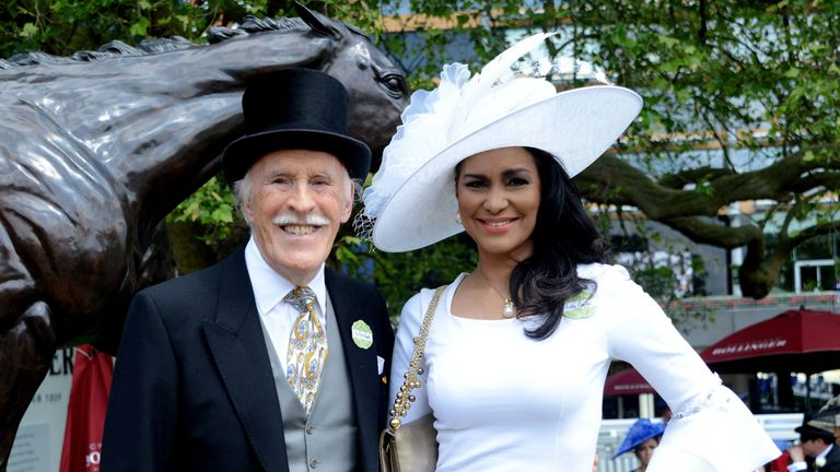 Bruce Forsyth with his wife Wilnelia Merced at Royal Ascot in 2015