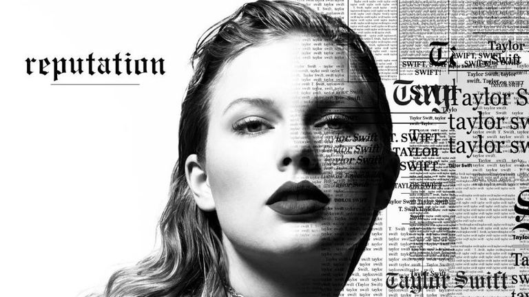 Taylor Swift - and news print. Pic: Twitter/@taylorswift13