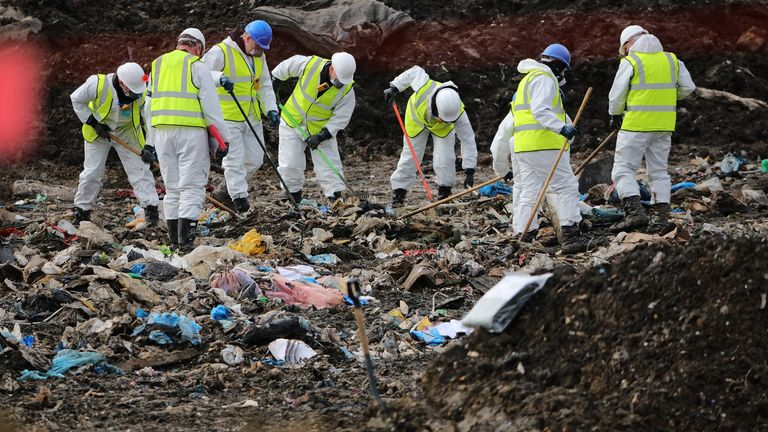 MILTON, ENGLAND - MARCH 08: Police officers search a landfill site in search of missing RAF airman Corrie Mckeague on March 8, 2017 in Milton, near Cambridgeshire in England. The search of the rubbish tip is expected to take up to 10 weeks.