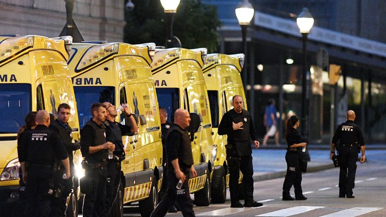 Paramedics near the scene of the Barcelona attack
