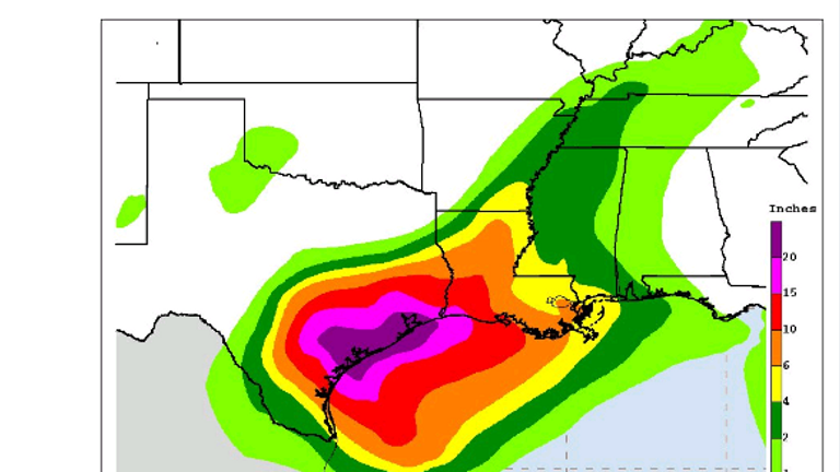 Up to 35 inches of rain  is possible over southeast Texas in the coming days. Pic: NHC
