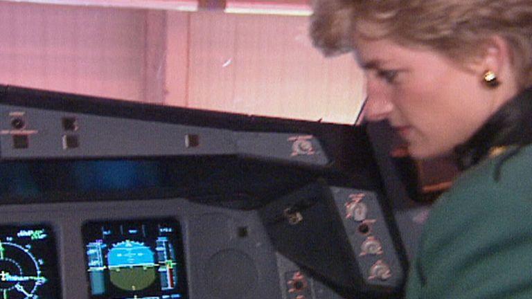 Diana in cockpit of Virgin flight