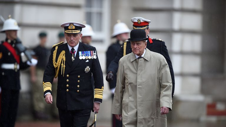 Prince Philip, in his role as Captain General, Royal Marines
