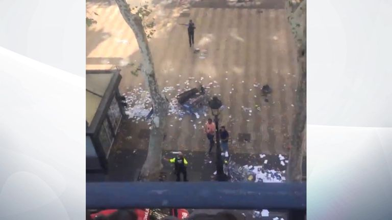 Debris on the ground after a van hit pedestrians in Barcelona