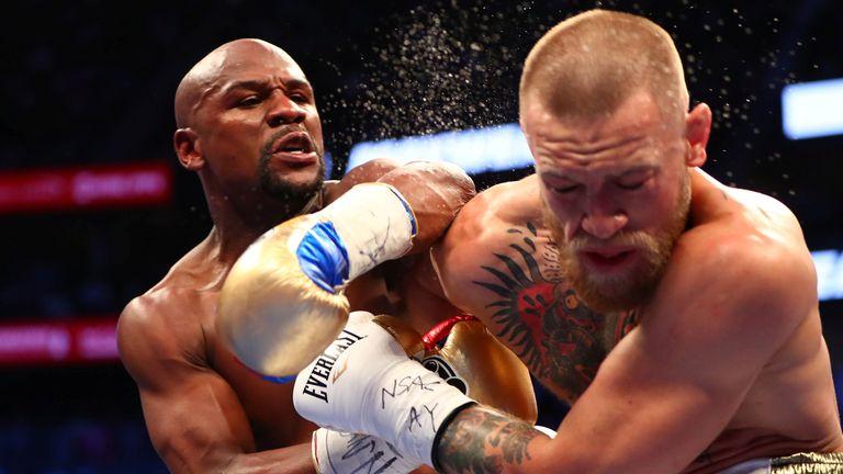 Mayweather lands a stinging shot on his Irish opponent