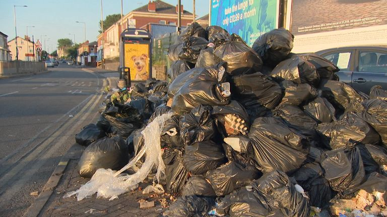 Rubbish has been piled up on the city's streets as strike action continues