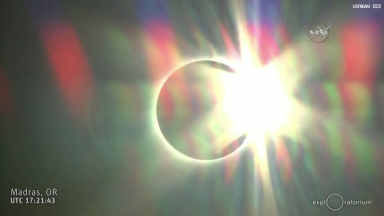 The eclipse as the sun begins to reappear after totality