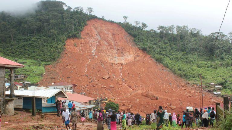The mudslide in the mountain town of Regent, Sierra Leone
