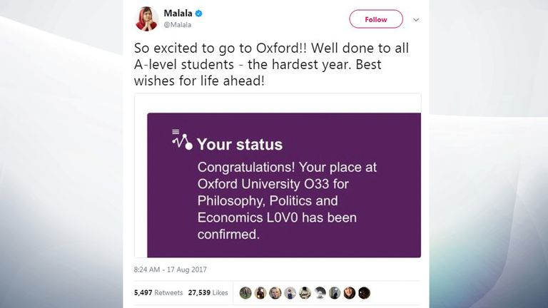 Malala shared the news she had been accepted to Oxford with her Twitter followers