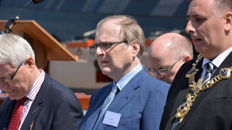 Microsoft co-founder Paul Allen attends the unveiling of the bell from HMS Hood at Portsmouth Historic Dockyard, to mark the 75th anniversary of the Royal Navy's largest loss of life from a single vessel.