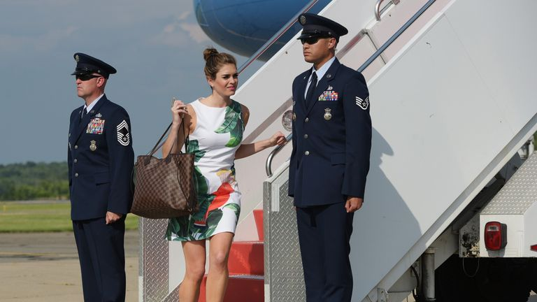 Hope Hicks disembarks from Air Force One