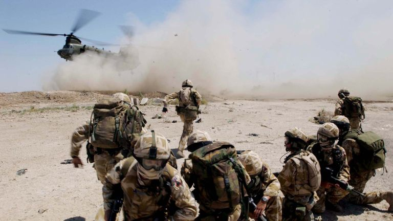 In this handout from the British Army, soldiers from the The Royal Welch Fusiliers mount helicopter borne Eagle VCP's (Vehicle Check Points), July 2, 2004 around the southern Iraqi town of Basra
