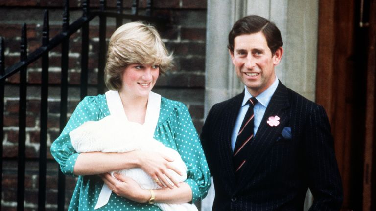 June 1982: Diana and Charles on the steps of the Lindo Wing at St. Mary's Hospital with their son Prince William