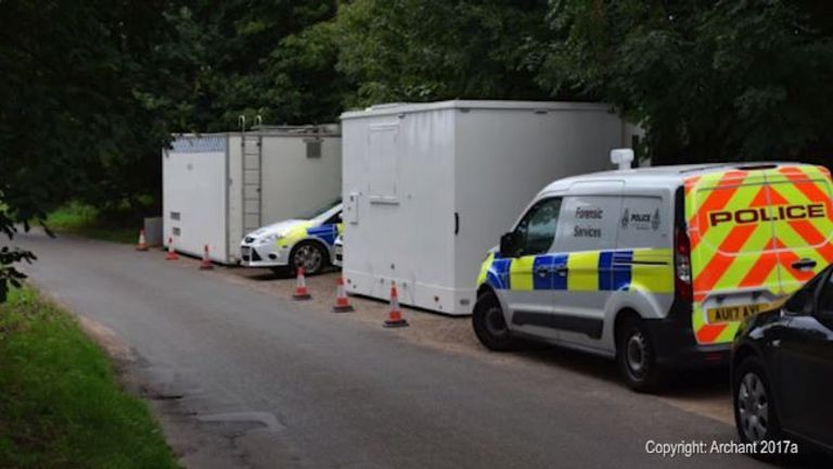 A mobile police unit has been set up near the crime scene. Pic. Archant 2017a