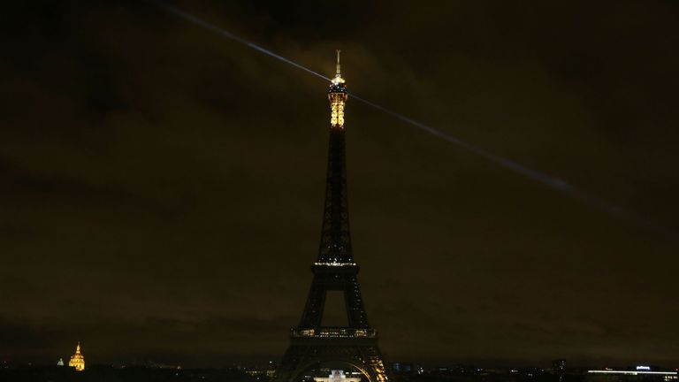 The lights of the Eiffel Tower were switched off on Thursday evening in solidarity with Spain