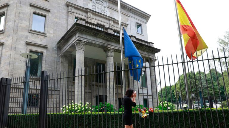 Tributes have also been left at the Spanish embassy in Germany