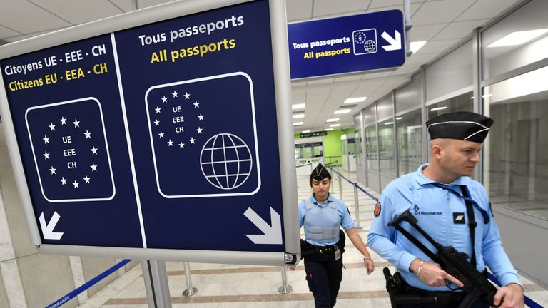 French Gendarmes patrol the airport of Montpellier, southern France, on November 20, 2015