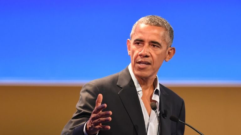 US former President Barack Obama delivers a speech during the third edition of 'Seed & Chips: The Global Food Innovation Summit' focussing on new technologies for feeding the globe, from agriculture to distribution, on May 9, 2017 in Milan. / AFP PHOTO / Andreas SOLARO (Photo credit should read ANDREAS SOLARO/AFP/Getty Images)