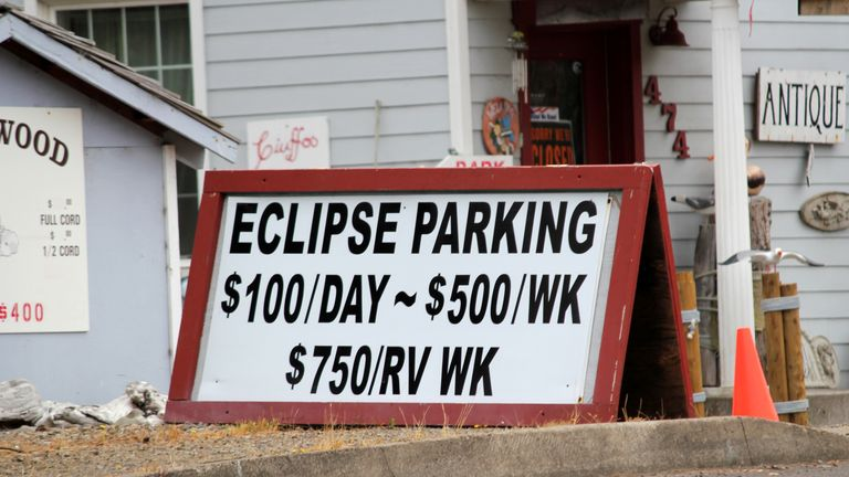 Eclipse parking is pricey in Depoe Bay, Oregon
