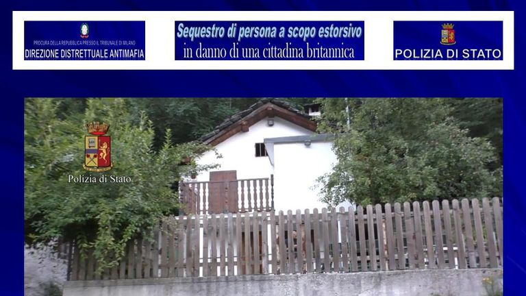 Police say the woman was held in a remote farmhouse near Turin
