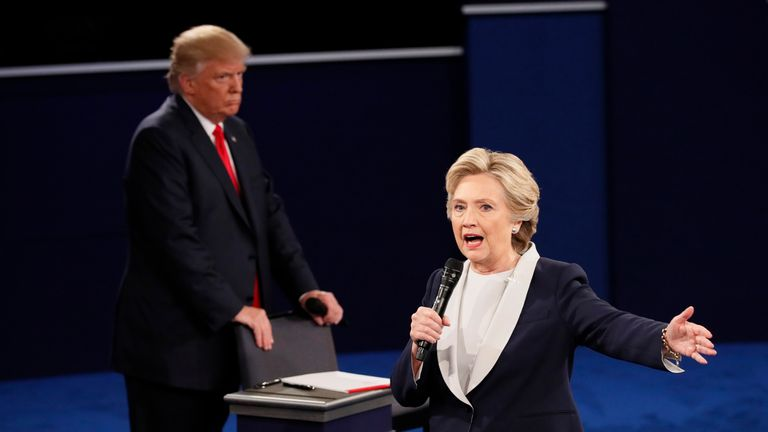 The debate on 9 October took place two days after footage emerged of Mr Trump bragging about groping women