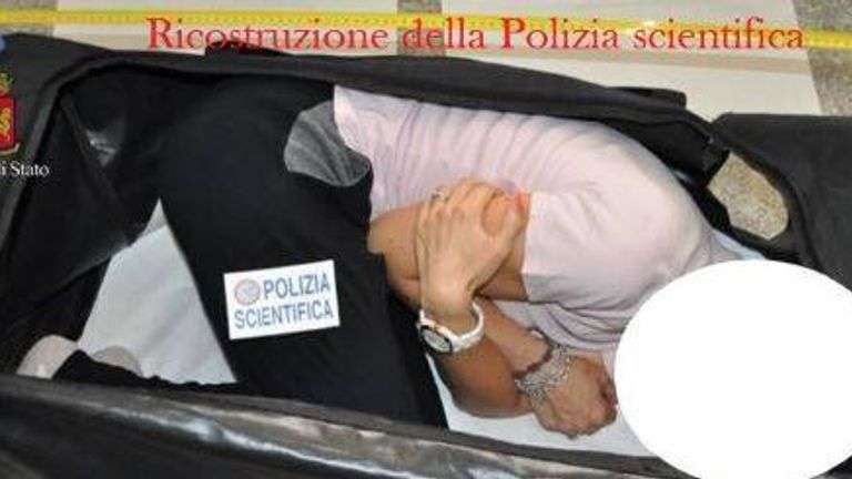 Police released a reconstruction photo of a woman in a suitcase. Pic: Polizia di Stato
