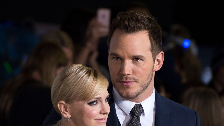 Actors Anna Faris and Chris Pratt attend the premiere of Passengers