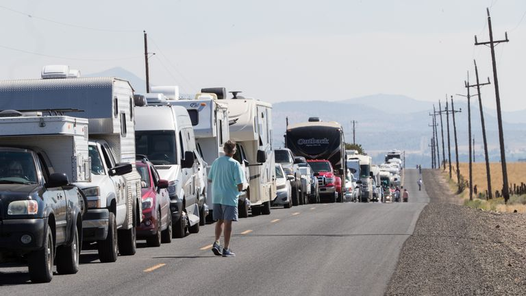 RV traffic sits at a standstill along a two-lane road near Madras, Oregon, August 17, 2017. The rural central and eastern part of Oregon is hosting dozens of festivals to help manage the crowds -- a million visitors are expected to the region for the Monday August 21, 2017, natural phenomena