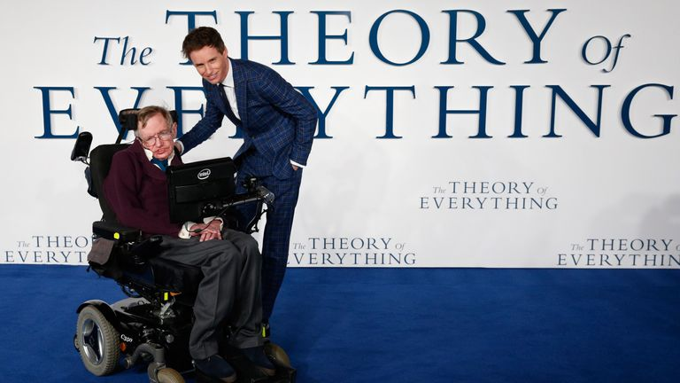 Eddie Redmayne poses with British scientist Stephen Hawking at the UK premiere of the film The Theory of Everything