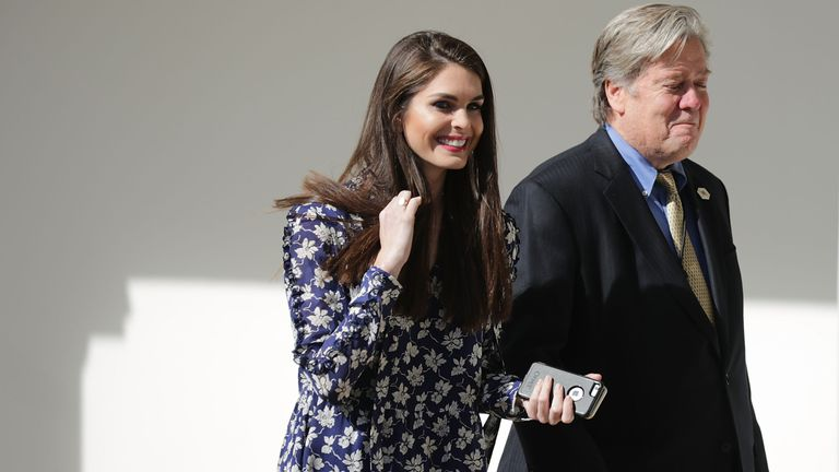 Hope Hicks and Steve Bannon at the White House