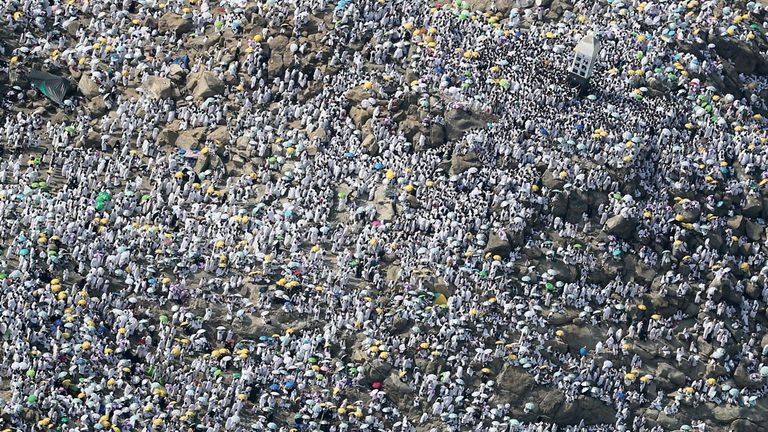 An aerial view shows Muslim pilgrims gathering on Mount Arafat
